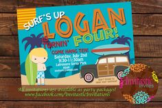 Surfing Luau Kids Birthday Party Invitation-Luau, Pool, Beach Party Birthday Party Theme with Picture-Surfing Summer Birthday Invitaiton