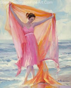Image result for walking on beach painting