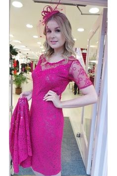 82 Ann Balon Cerise Lace Pink Two-Piece