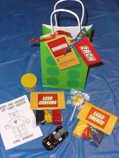 Lego themed party bags
