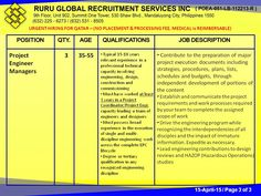 """URGENT HIRING FOR QATAR  – (NO PLACEMENT & PROCESSING FEE, MEDICAL is REIMBURSABLE)  Our Client, KENTZ Engineers & Constructors , is now hiring """"QATAR SIDRA PROJECT,"""" as follows:  Project Engineer Managers 35-55  15-18 years relevant experience in a professional technical capacity  Must have worked at least 3 years in a Project Coordinator/Project Engr. capacity leading a team of engineers and designers   Must possess broad experience in engineering work across the complete EPC lifecycle"""