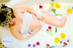 #milkbath #flowercrown #pregnant #photography #lighting #strobes #flowers #elegant #clawfoottub #mcclainphotography