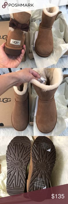 UGG Mini Brigette Bow limited edition boots sz 8 UGG Mini Brigette Bow limited edition boots sz 8 NEW 100% authentic . Color name: chestnut . QR READER scannable tag for authenticity. Item#och-do PLEASE NO LOW BALLING 🙅🏻🙅🏻🙅🏻🙅🏻 UGG Shoes