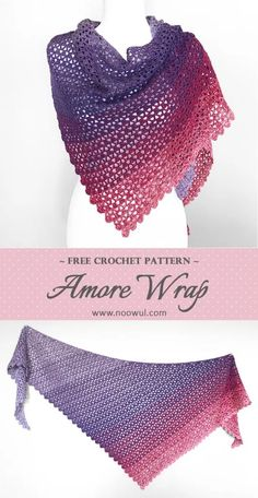 The Amore Wrap is a lovely, lacy, free crochet shawl pattern that uses just one ball of Red Heart It's A Wrap Rainbow Yarn. The open stitch pattern works up quickly and beautifully in these lovely gradient colors. One Skein Crochet, Crochet Shawl Free, Crochet Wrap Pattern, Crochet Shawls And Wraps, Crochet Scarves, Crochet Edgings, Crochet Motif, Crochet Vests, Crochet Cape