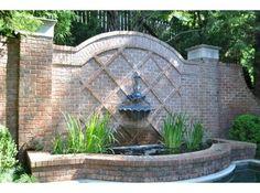 Brick Wall Gardens, Landscape Design, Garden Design, Garden Water Fountains, Wall Fountains, Water Walls, Water Features In The Garden, Garden Structures, Dream Garden