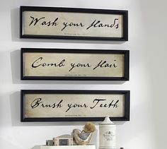 Bathroom Wall Art Framed Comb Your Hair Prints, Set Of 3 Part 36