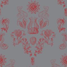 Grey + Red is one of my favorite color combinations. Awesome wallpaper called Ash Down Below Victorian, by Filthy Home.