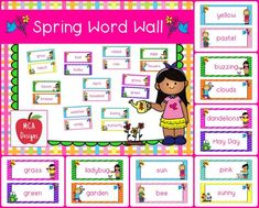 My Spring Word Wall features 82 word wall cards which can be used as part of a spring writing center or to create a fun spring bulletin board! Each word wall card is accented with bright colors and spring graphics.