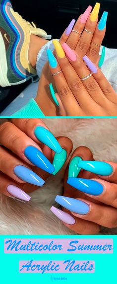 18 Cute Summer Nail Designs to Copy Right Now - Nagelkunst Design - Nageldesign Cute Summer Nail Designs, Cute Summer Nails, Cute Nails, Pretty Nails, Nail Summer, Bright Nail Designs, Cute Nail Colors, Color Nails, Fancy Nails