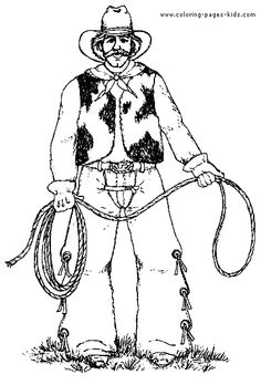 cowboy with lasso coloring page