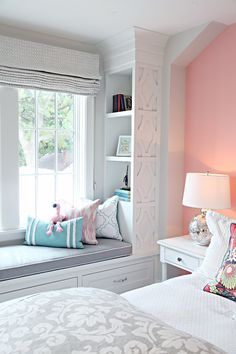 MASTER window seat trim and built in ideas - IHeart Organizing: MN Showcase Home Tour