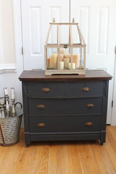 Vintage Dresser - Chest of Drawers - Annie Sloan Chalk Paint - Graphite - Stained Top by InteriorsWithAStory on Etsy