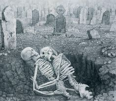 Drawing by Laurie Lipton. She makes pieces that delve into love, taboo, death. Love this one in particular.