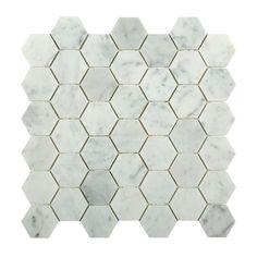 Carrara Hexagon Marble Mosaic Tiles | TileBar.com