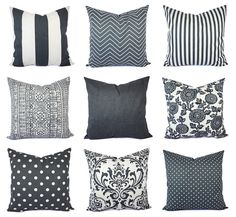 Charcoal and White Pillow Cover  Gunmetal by CastawayCoveDecor
