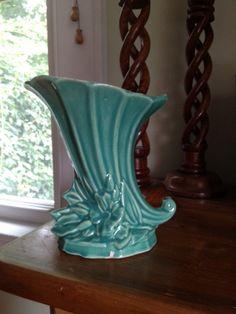 Vintage McCoy Cornucopia Vase Beautiful Teal Aqua by krmvintage