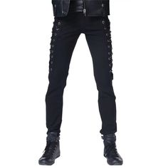 Cameinic Men's Gothic Rocker Punk Motorcycle LaceSide Boot Cut Jeans... ($27) ❤ liked on Polyvore featuring men's fashion, men's clothing, goth mens clothing, mens clothing, men's apparel and gothic mens clothing