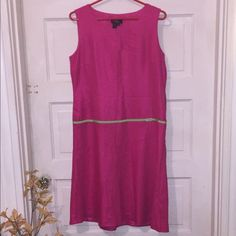 Pink mid length dress Cute dress for work. Has a green belt attached to dress. Come to right above the knee if you are tall. Nice soft material Cynthia howie Dresses Midi