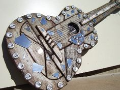 "Decorative Barnwood Guitar entitled ""Shattered Dreams"". $178.00, via Etsy."
