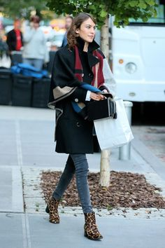 Alexa Chung w/ Burberry poncho & leopard booties