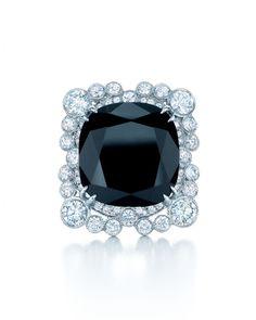 Tiffany & Co. cushion-cut black onyx, diamond, and platinum ring. Designed for the new Great Gatsby film. http://www.diamonds.pro/diamond-clarity-chart/