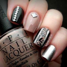 kimiko7878 #nail #nails #nailart #unha #unhas #unhasdecoradas #preto #black #silver #prateado #nude