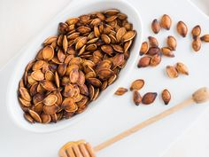 Honey and Tea-Spiced Pumpkin Seeds   These roasted pumpkin seeds, lightly sweetened with honey and spiced with black tea, are a terrific snack.