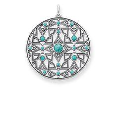 colgante - ojal - Plata de ley 925, ennegrecida - diamante blanco, turquesa de imitación facetada • Caprichoso mosaico • Fulgor de diamantes • Look bohemio Ocean Spirit: Con sus turquesas de imitación engastadas, el motivo en forma de mosaico de este modelo finamente calado ensalza el fulgor azul del mar. Debe sus fascinantes destellos a rutilantes diamantes facetados.
