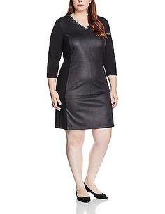 14 UK, Black - Schwarz (Black 104), Frapp Women's Kleid V-Ausschnitt 3forwardsla