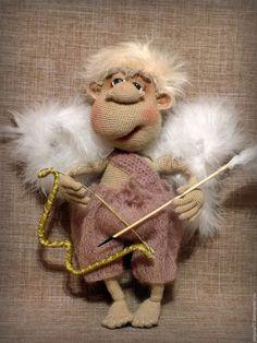 Купить Ангел-Купидончик - комбинированный, ангел, купидон, ангелочек, вязаный, купить, авторская ручная работа