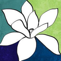 Pop Art Flower Art - Blue Magnolia 1- floral art  by Linda Woods