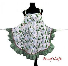 Aprons  —  HOLIDAY APRON $39.95.   Evergreen Trees, Snowmen, Cardinals, Striped Ruffles Red Piping Buttons -- Size Medium to Large One-of-a-Kind Delightfully Handmade ...  #Christmas ... #aprons ... #trees ... #food ..  http://www.zibbet.com/SuzysLoft/artwork?artworkId=1049936