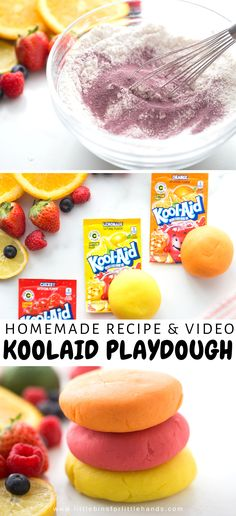 Soft playdough you can make at home with a variety of scents! The best way to help your sensory seeking kids is to give them safe and fun outlets. You can make this koolaid recipe at home, follow our simple video! Help your kids create their own playdough that smells fruity. A great way to help the sensory seeking kids during a time of staying at home. This is a fun way for parents to help their kids with sensory processing.  #SensoryProcessing #HomemadePlaydough #KidActivities