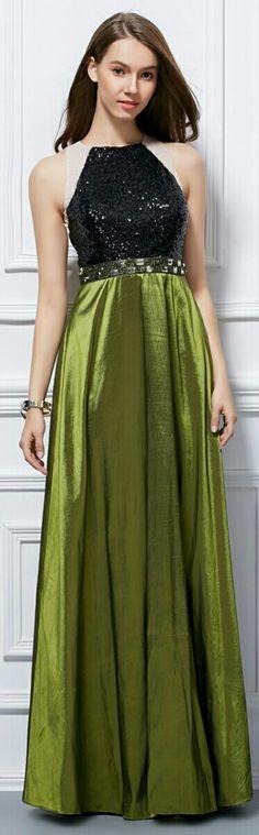Handmade Prom Dress: Olive Satin Skirt, Square Studded Waist Belt, & Black Sequined  Halter Top. Courtesy of: bestbuy.trafficmanager.net
