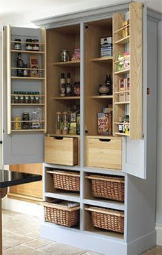 If you don't have any space for creating pantry,You can Turn an old tv armoire into a pantry cupboard