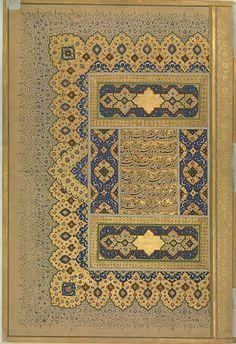 'Unwan from the Shah Jahan Album Calligrapher: Mir 'Ali Haravi (d. Object Name: Album leaf Date: recto: ca. verso: ca. Islamic Calligraphy, Calligraphy Art, Mughal Paintings, Iranian Art, Paper Dimensions, Sacred Art, Illuminated Manuscript, Religious Art, Islamic Art