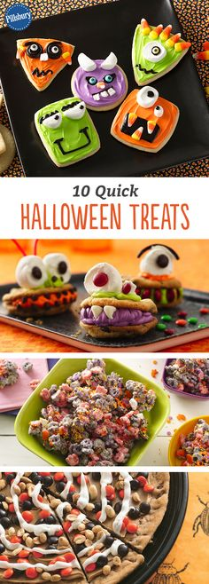 Get your little monsters in the spirit with fun and E-A-S-Y ways to decorate their favorite sweet treats. They are make with Pillsbury cookies and cinnamon rolls for cute Halloween party ideas! You'll love biting into these spooky easy monsters. Halloween Goodies, Halloween Desserts, Halloween Food For Party, Halloween Birthday, Holiday Desserts, Holiday Treats, Halloween Kids, Halloween Treats, Vintage Halloween