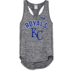 Women's Kansas City Royals PINK by Victoria's Secret Heathered Black Synthetic Racerback Tank Top
