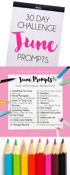 30 Day Lettering and Doodle Challenge: June Prompts by Dawn Nicole June Challenge, Journal Challenge, Drawing Challenge, Monthly Challenge, Art Prompts, Journal Prompts, Writing Prompts, Journal Art, Bible Journal