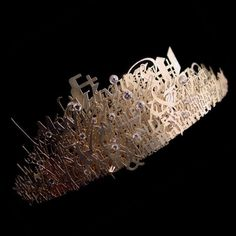tiara made out of laser cut metal letters and words