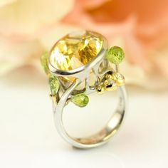 The Primavera cocktail ring is a true one of a kind masterpiece, depicting the sun - in the shape of the citrine - drawing up the green peridot sprouts from the diamond-glittering earth. I built this ring from white gold with yellow gold accents over many hours and once someone purchases it, there will be no identical made. Enchanted Jewelry, Spring Cocktails, Green Peridot, Cocktail Rings, Gold Accents, Sprouts, 18k Gold, White Gold, Gems