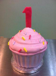 Giant Cupcake Cake  www.sweetnessbakeshop.net  facebook.com/sweetnessbakeshop