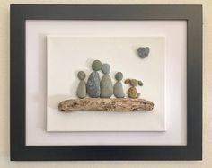 Pebble art-Family of 4 and a dog framed artwork driftwood