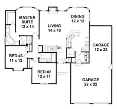 House Plan 62614 - Traditional , House Plan with 1449 Sq Ft, 3 Bed, 2 Bath, 3 Car Garage Basement House Plans, Ranch House Plans, New House Plans, Dream House Plans, Small House Plans, House Floor Plans, The Plan, How To Plan, 1500 Sq Ft House