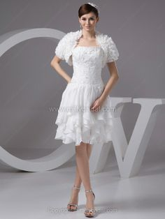 A-line Strapless Chiffon Knee-length Tiered Wedding Dresses