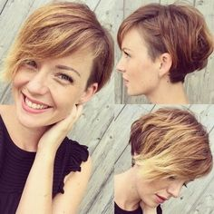 long asymmetrical pixie with golden blonde highlights
