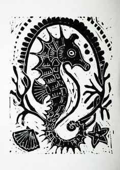 Seahorse Emblem  Linocut Print by kirayustak on Etsy