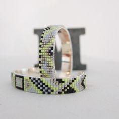 Bracelet perles tissées jaune