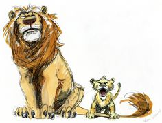 Mufasa and Simba | 19 Disney Characters That Could Have Looked Completely Different
