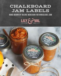 This adorable set of round chalk art jam labels has been hand-drawn by Valerie McKeehan of Lily & Val! The set includes an array of fruit preserves plus apple and pumpkin butter. Jam Jar Labels, Canning Jar Labels, Jam Label, Canning Recipes, Canning 101, Pumpkin Butter, Apple Butter, Lily And Val, Fruit Preserves